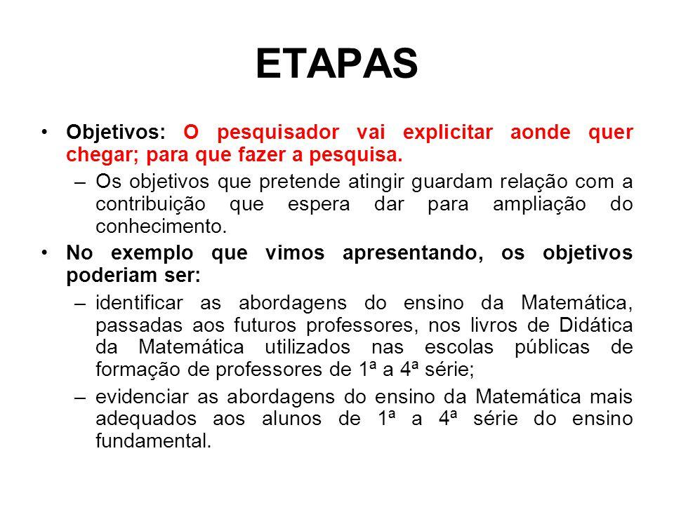 ETAPAS Objetivos: O pesquisador vai explicitar aonde quer chegar; para que fazer a pesquisa.