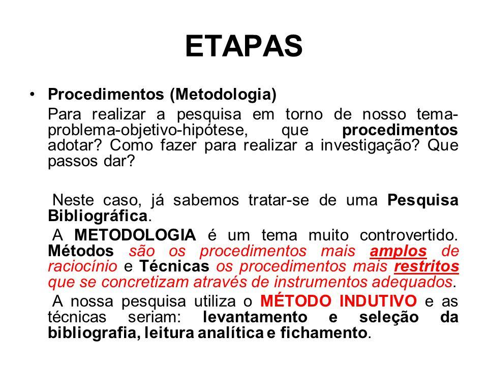 ETAPAS Procedimentos (Metodologia)