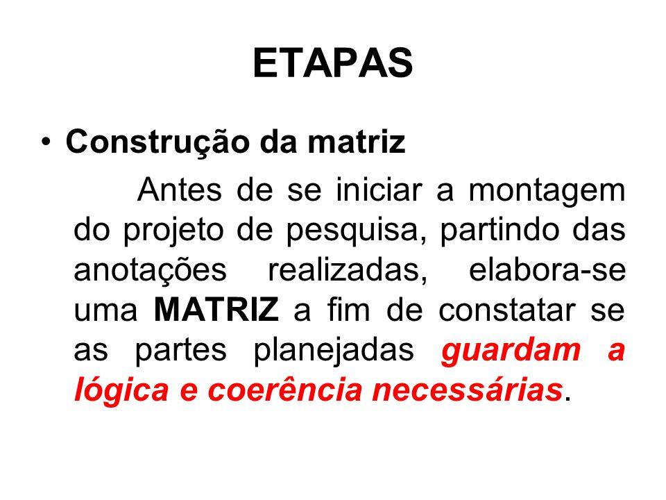 ETAPAS Construção da matriz