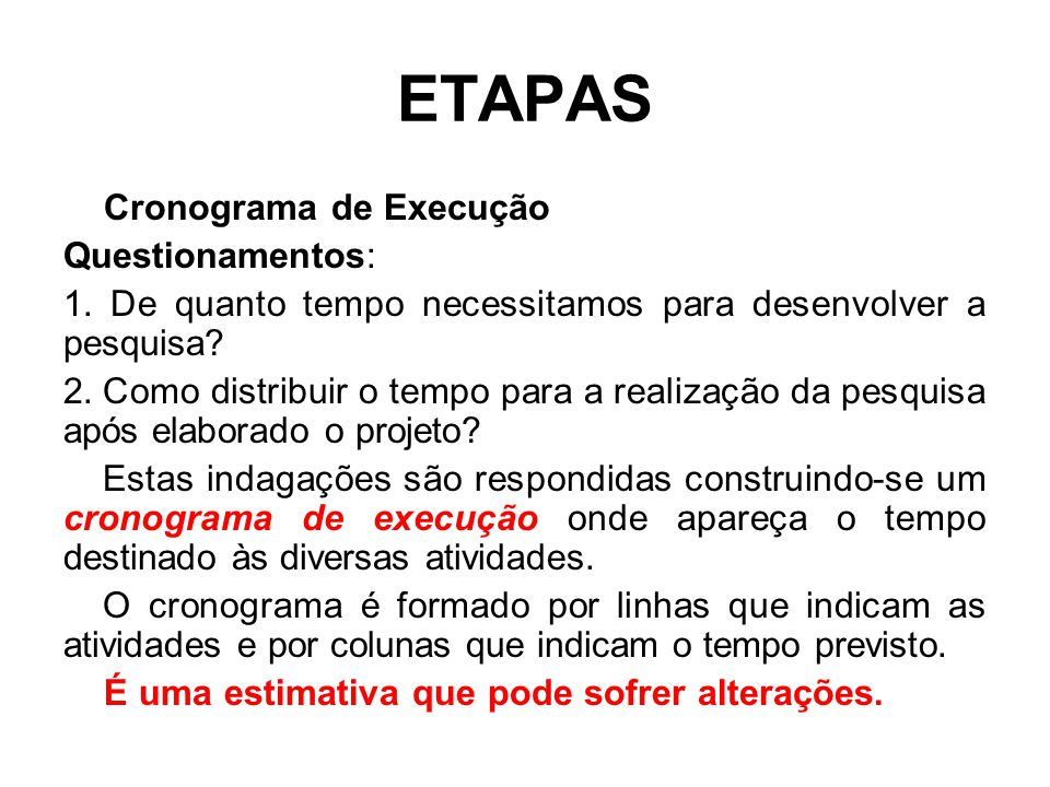 ETAPAS Cronograma de Execução Questionamentos: