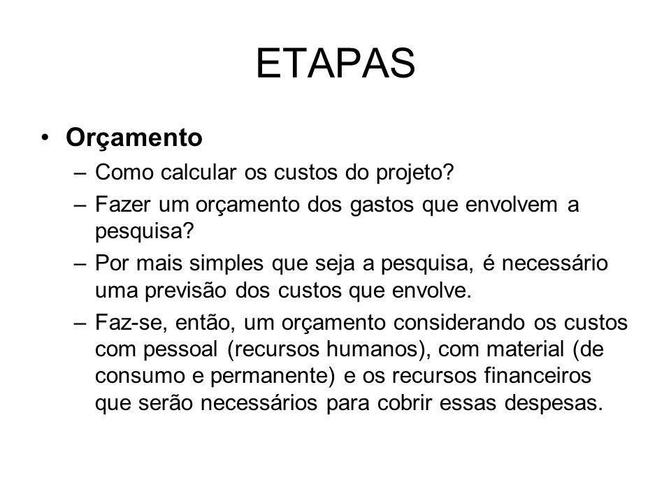 ETAPAS Orçamento Como calcular os custos do projeto