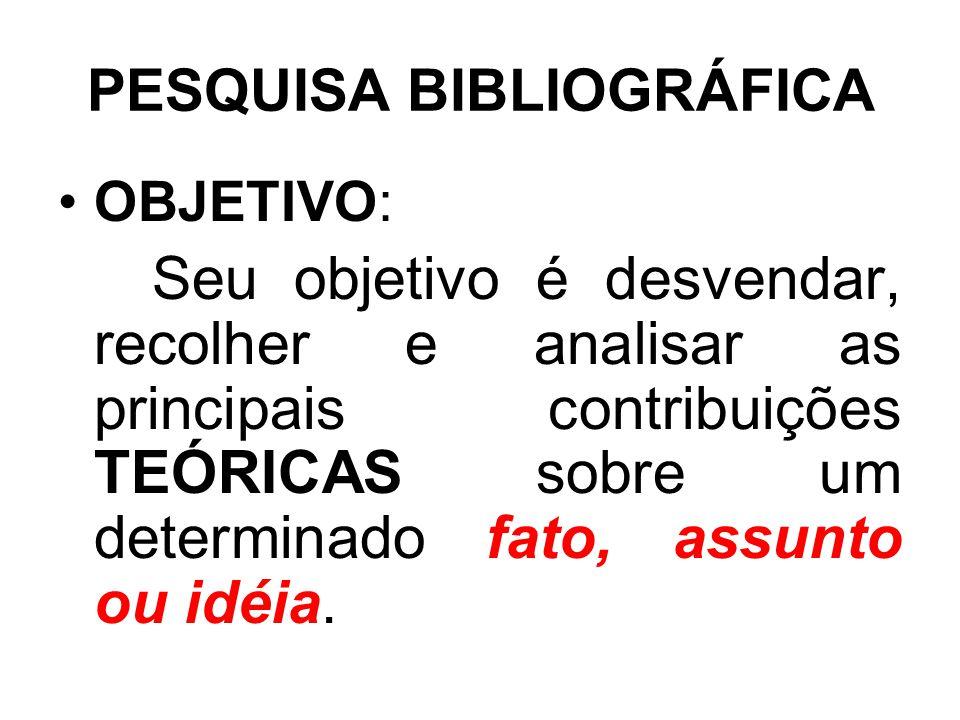 PESQUISA BIBLIOGRÁFICA