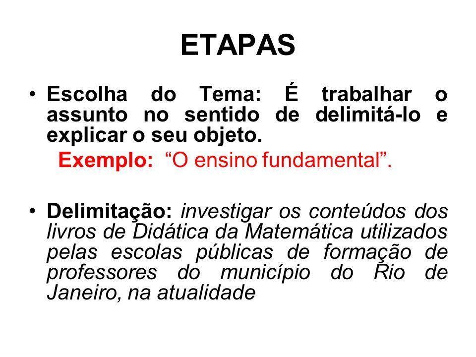 ETAPAS Escolha do Tema: É trabalhar o assunto no sentido de delimitá-lo e explicar o seu objeto. Exemplo: O ensino fundamental .