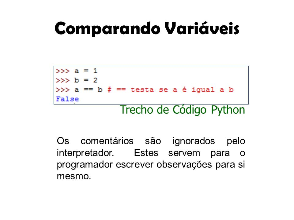 Comparando Variáveis Trecho de Código Python
