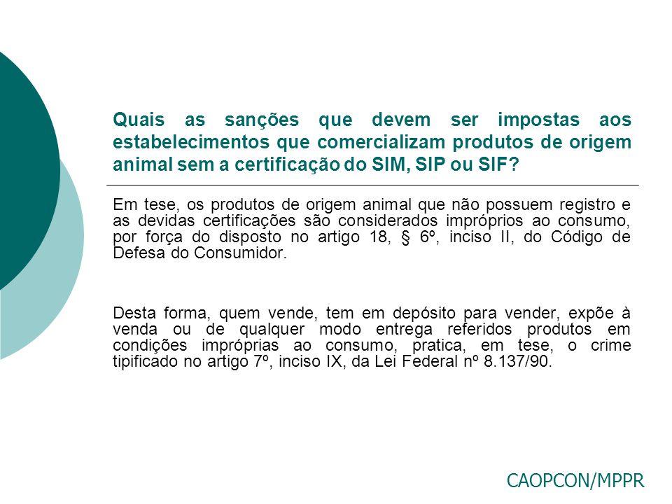 Quais as sanções que devem ser impostas aos estabelecimentos que comercializam produtos de origem animal sem a certificação do SIM, SIP ou SIF
