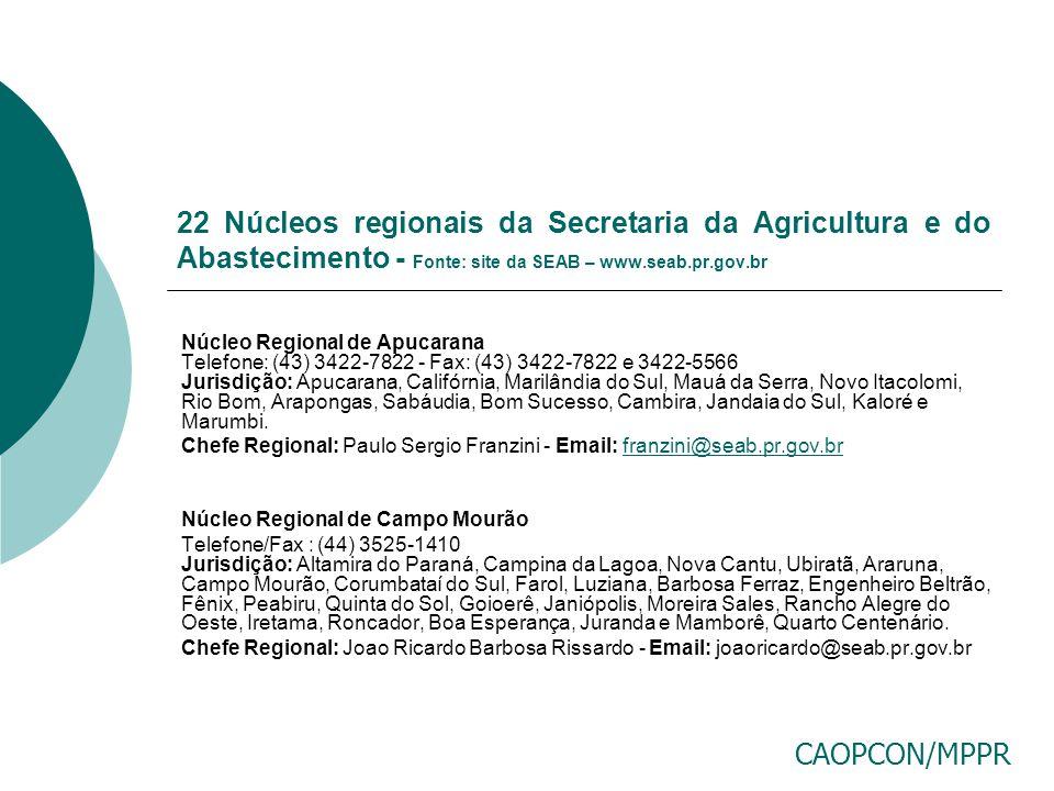 22 Núcleos regionais da Secretaria da Agricultura e do Abastecimento - Fonte: site da SEAB – www.seab.pr.gov.br