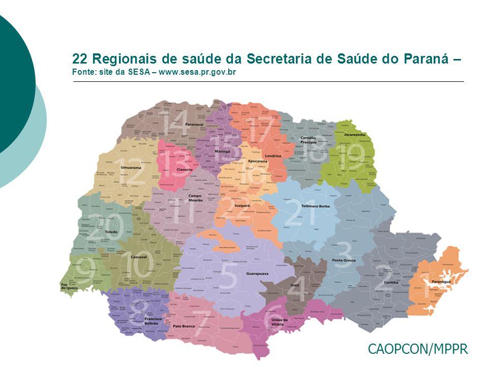 22 Regionais de saúde da Secretaria de Saúde do Paraná – Fonte: site da SESA – www.sesa.pr.gov.br