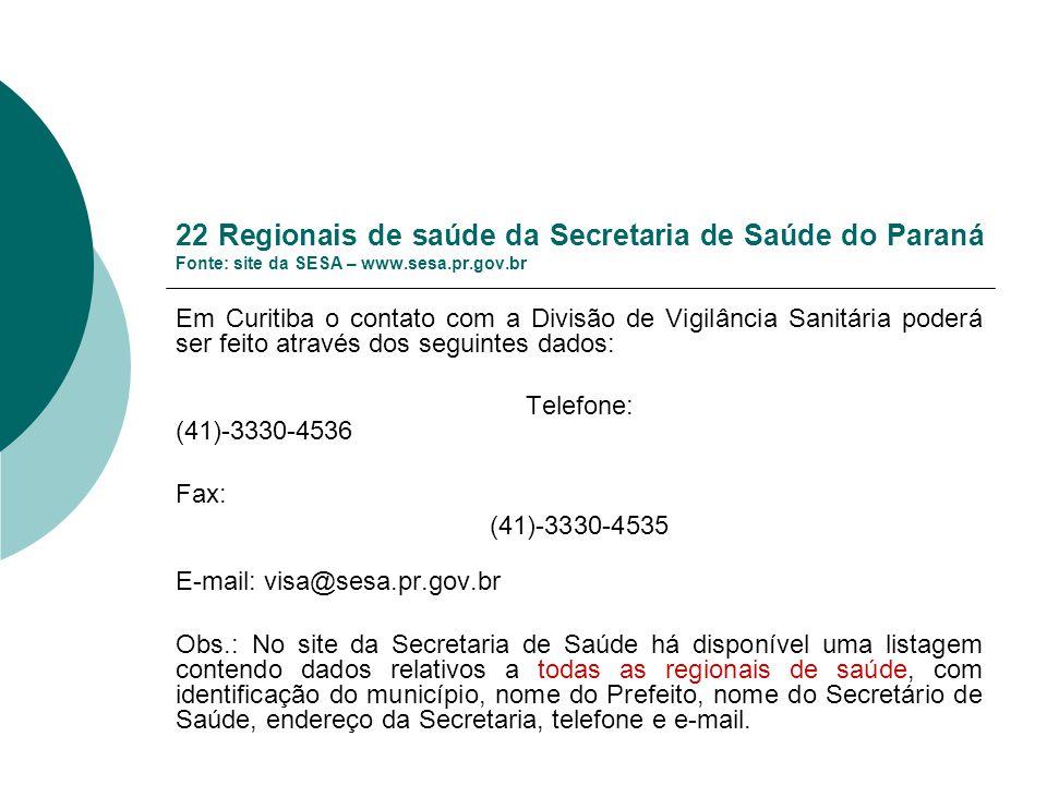 22 Regionais de saúde da Secretaria de Saúde do Paraná Fonte: site da SESA – www.sesa.pr.gov.br