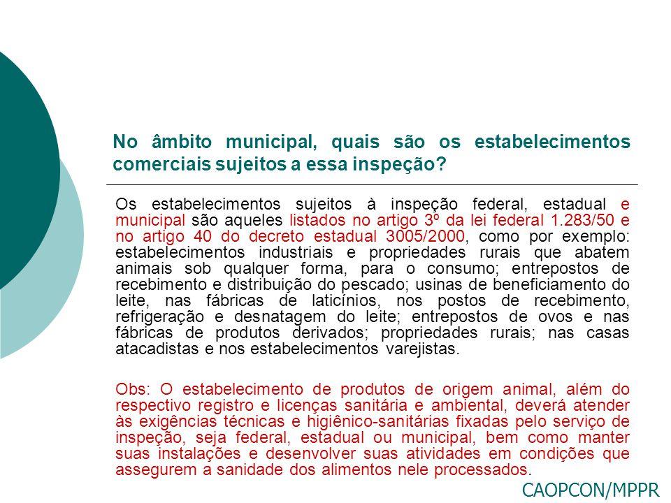No âmbito municipal, quais são os estabelecimentos comerciais sujeitos a essa inspeção