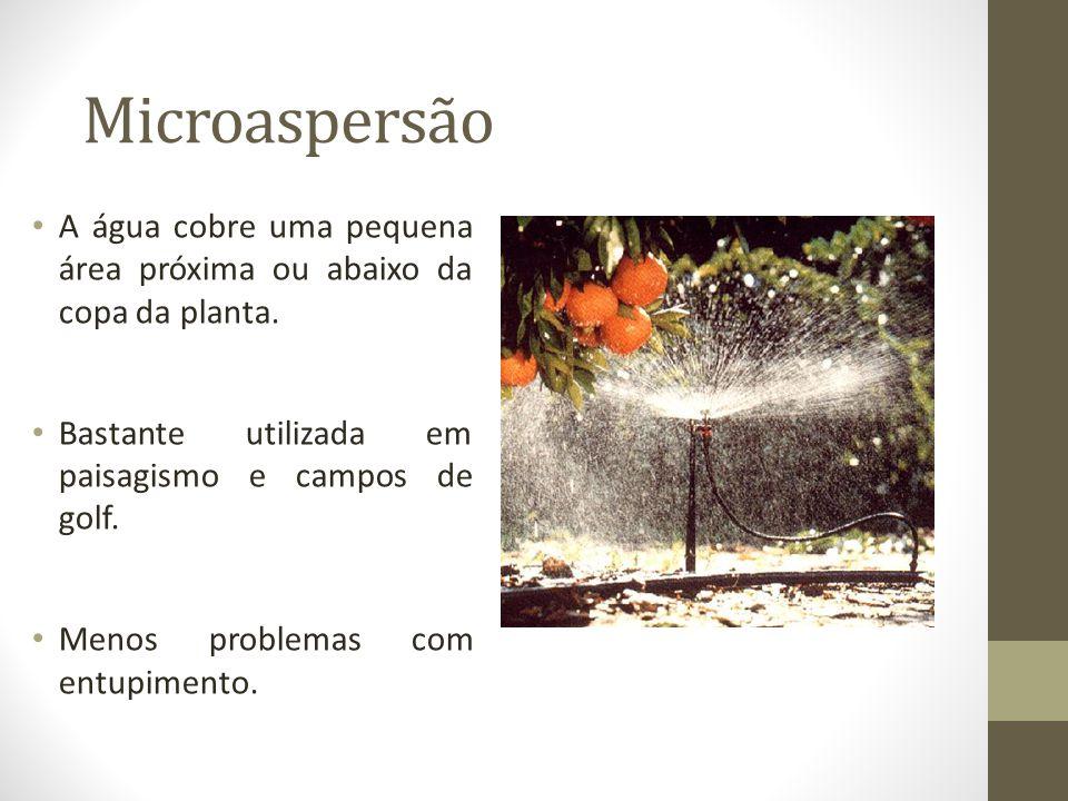Microaspersão A água cobre uma pequena área próxima ou abaixo da copa da planta. Bastante utilizada em paisagismo e campos de golf.