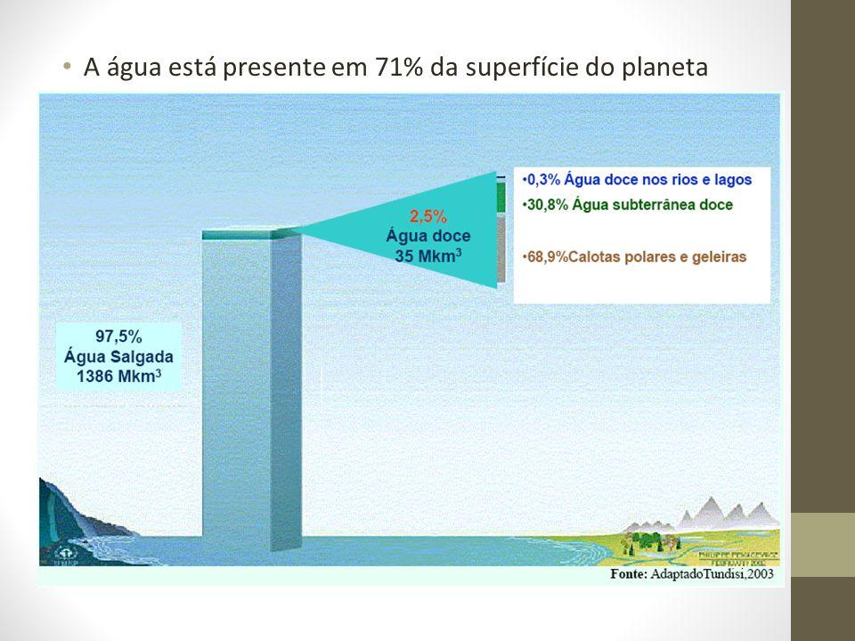 A água está presente em 71% da superfície do planeta