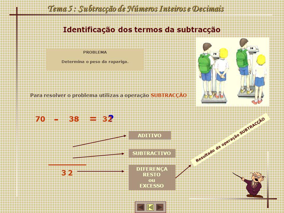 Tema 5 : Subtracção de Números Inteiros e Decimais