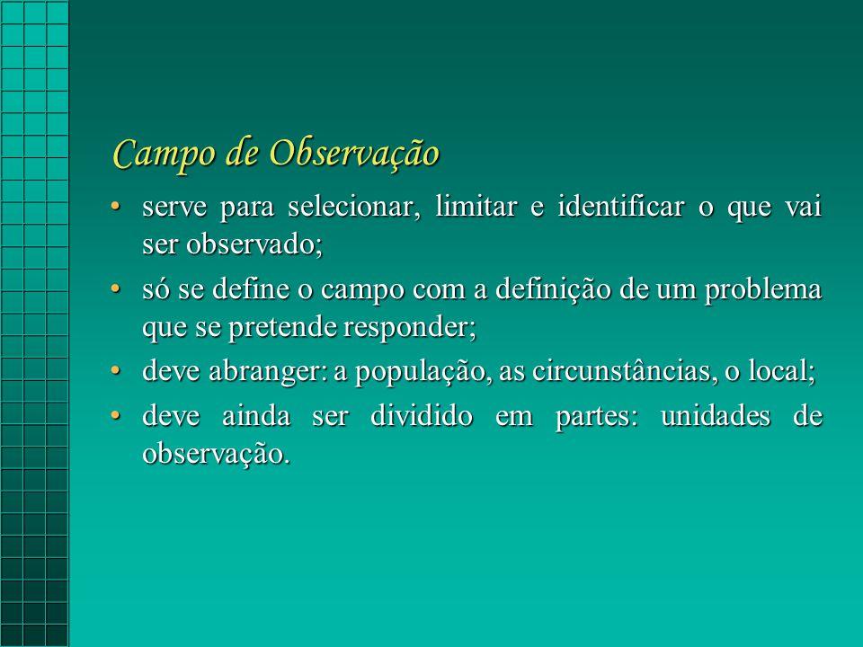 Campo de Observação serve para selecionar, limitar e identificar o que vai ser observado;