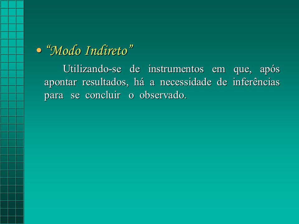 Modo Indireto Utilizando-se de instrumentos em que, após apontar resultados, há a necessidade de inferências para se concluir o observado.