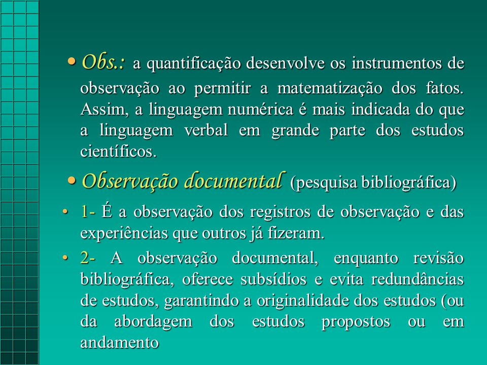 Observação documental (pesquisa bibliográfica)