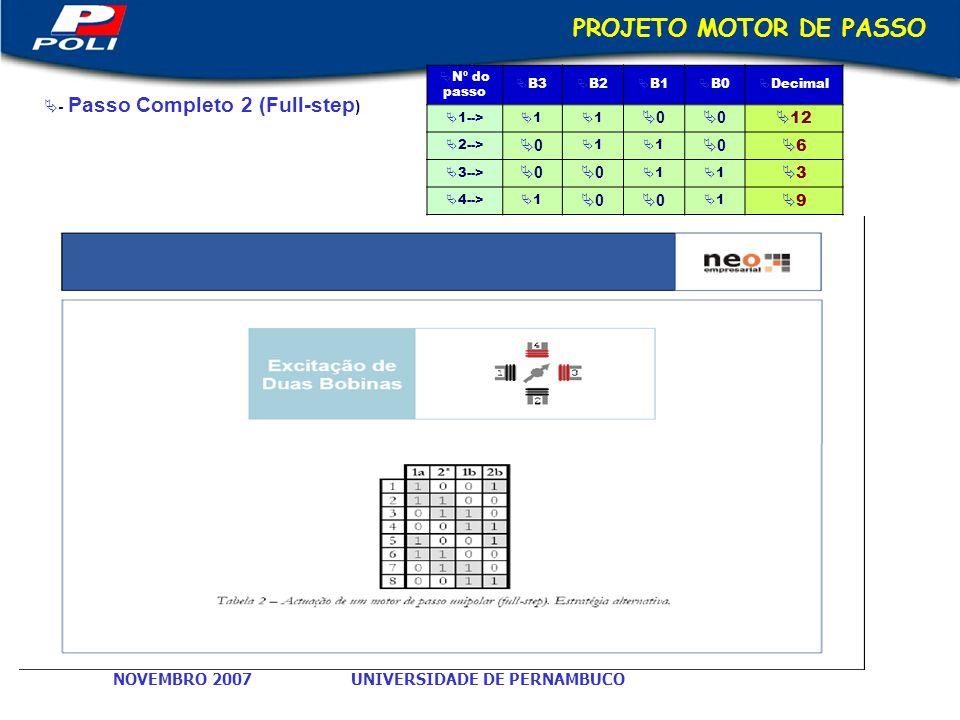 PROJETO MOTOR DE PASSO 12 6 3 9 - Passo Completo 2 (Full-step)