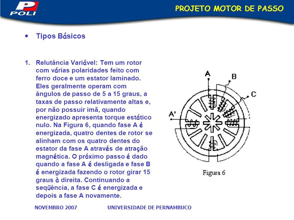 PROJETO MOTOR DE PASSO Tipos Básicos