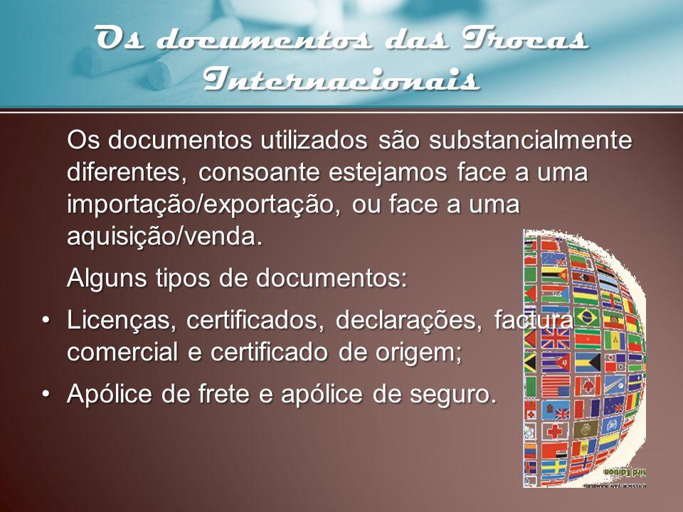 Os documentos das Trocas Internacionais