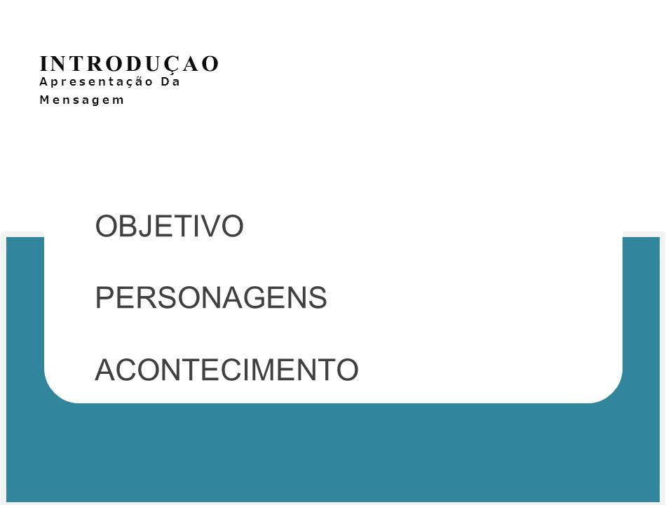 INTRODUÇAO Apresentação Da Mensagem OBJETIVO PERSONAGENS ACONTECIMENTO