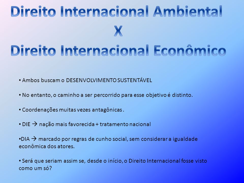 Direito Internacional Ambiental Direito Internacional Econômico