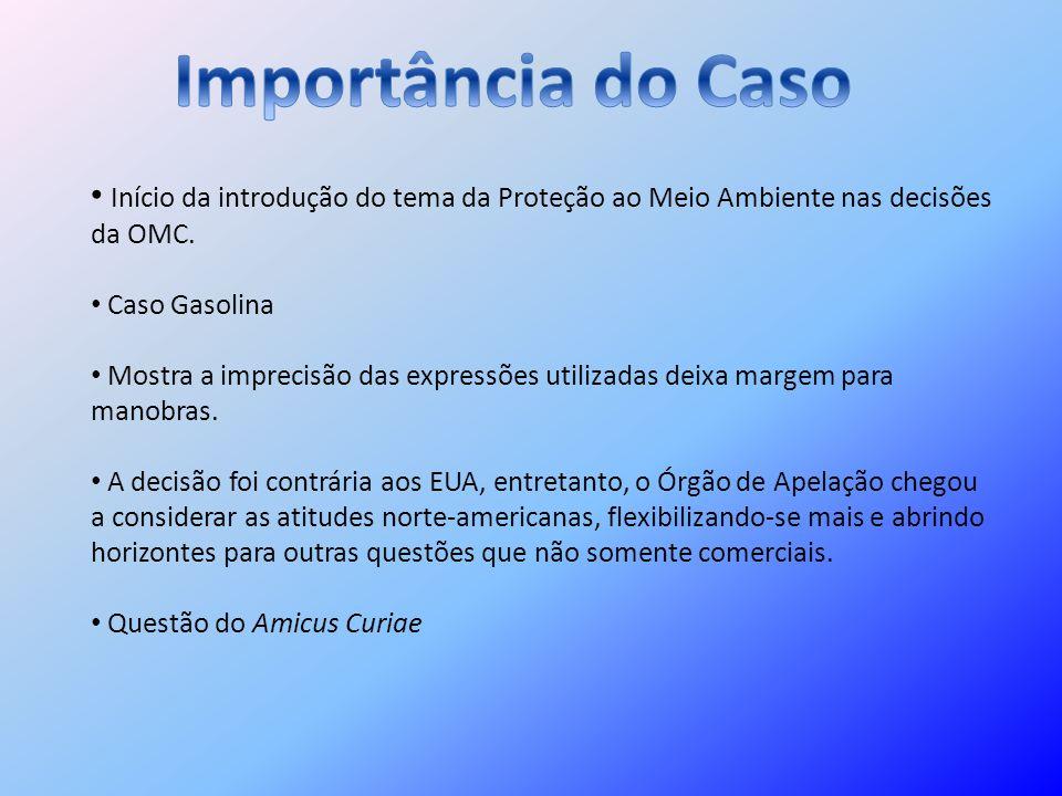 Importância do Caso Início da introdução do tema da Proteção ao Meio Ambiente nas decisões da OMC. Caso Gasolina.