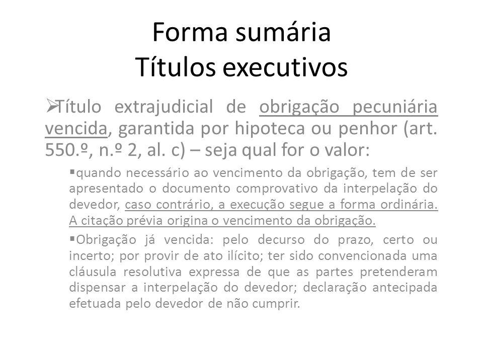 Forma sumária Títulos executivos