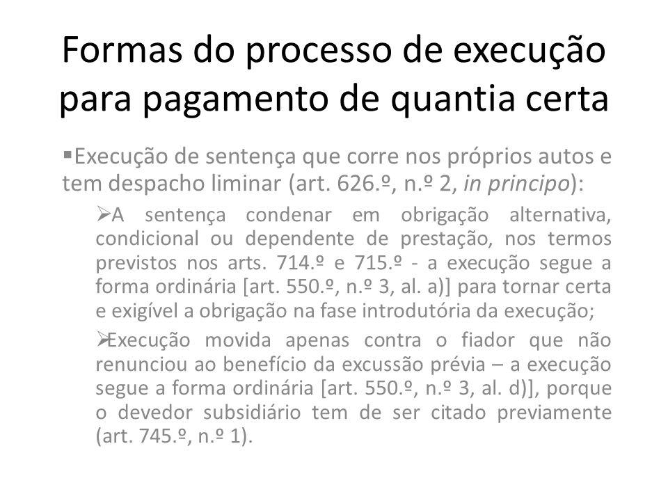 Formas do processo de execução para pagamento de quantia certa