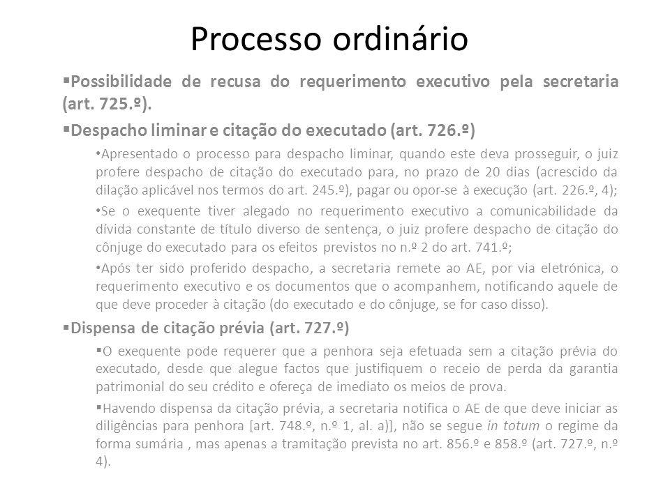 Processo ordinário Possibilidade de recusa do requerimento executivo pela secretaria (art. 725.º).