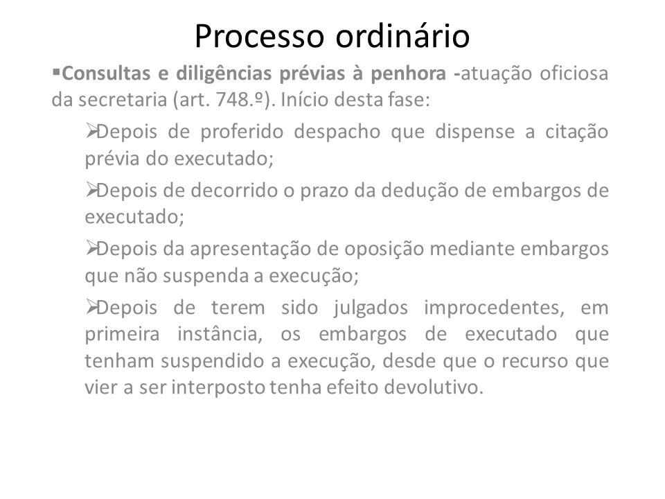 Processo ordinário Consultas e diligências prévias à penhora -atuação oficiosa da secretaria (art. 748.º). Início desta fase: