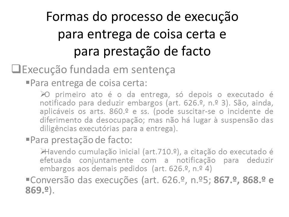 Formas do processo de execução para entrega de coisa certa e para prestação de facto