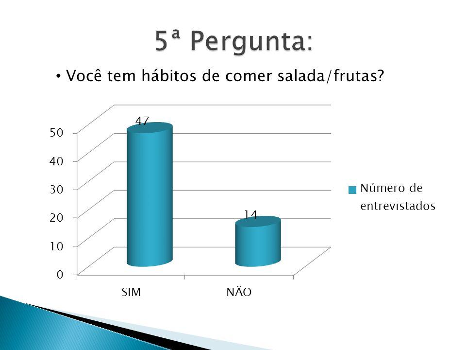 5ª Pergunta: Você tem hábitos de comer salada/frutas