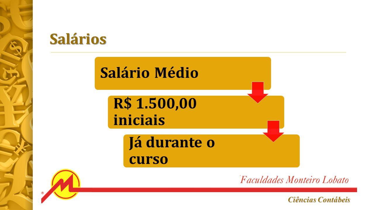 Salários Salário Médio R$ 1.500,00 iniciais Já durante o curso