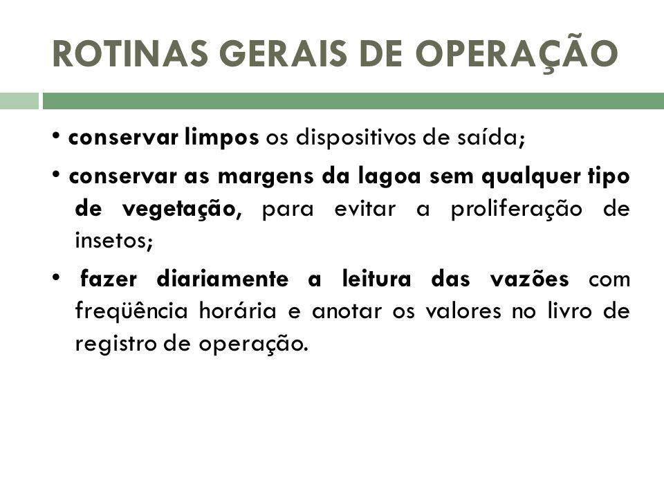 ROTINAS GERAIS DE OPERAÇÃO