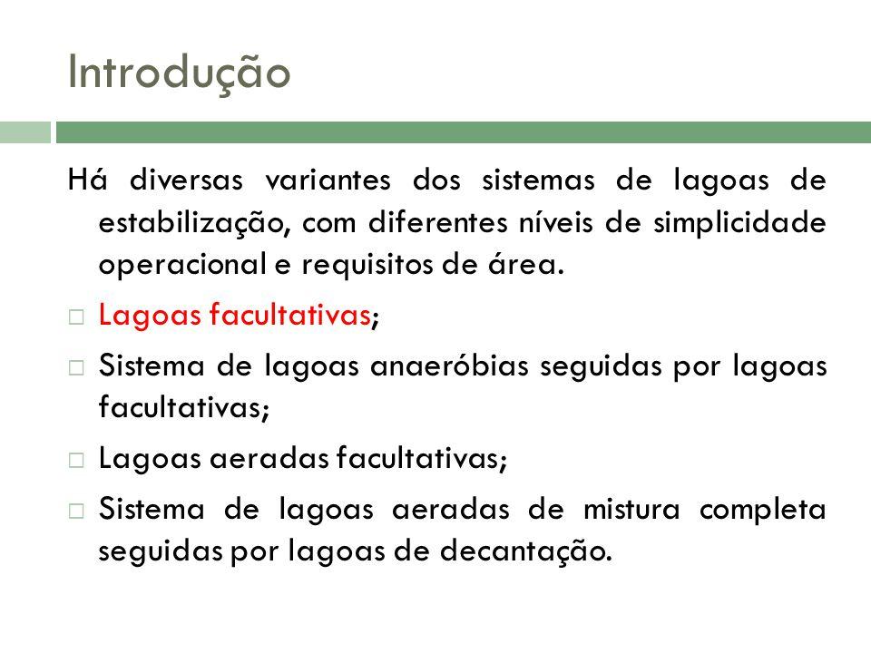 Introdução Há diversas variantes dos sistemas de lagoas de estabilização, com diferentes níveis de simplicidade operacional e requisitos de área.