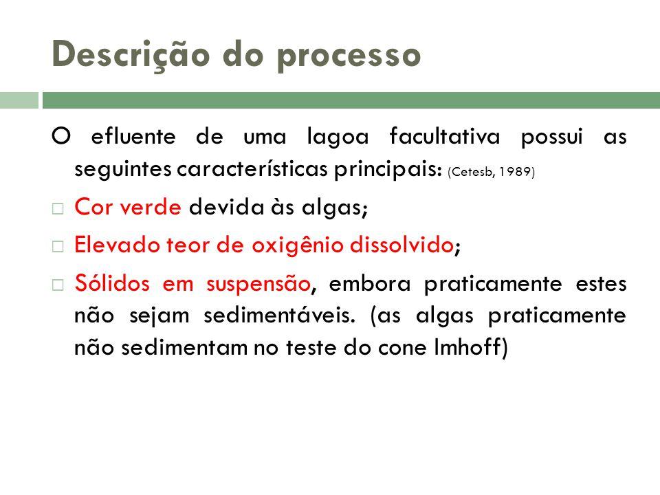 Descrição do processo O efluente de uma lagoa facultativa possui as seguintes características principais: (Cetesb, 1989)