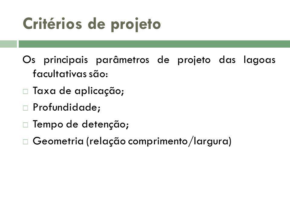 Critérios de projeto Os principais parâmetros de projeto das lagoas facultativas são: Taxa de aplicação;