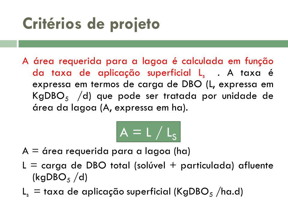 Critérios de projeto A = L / LS