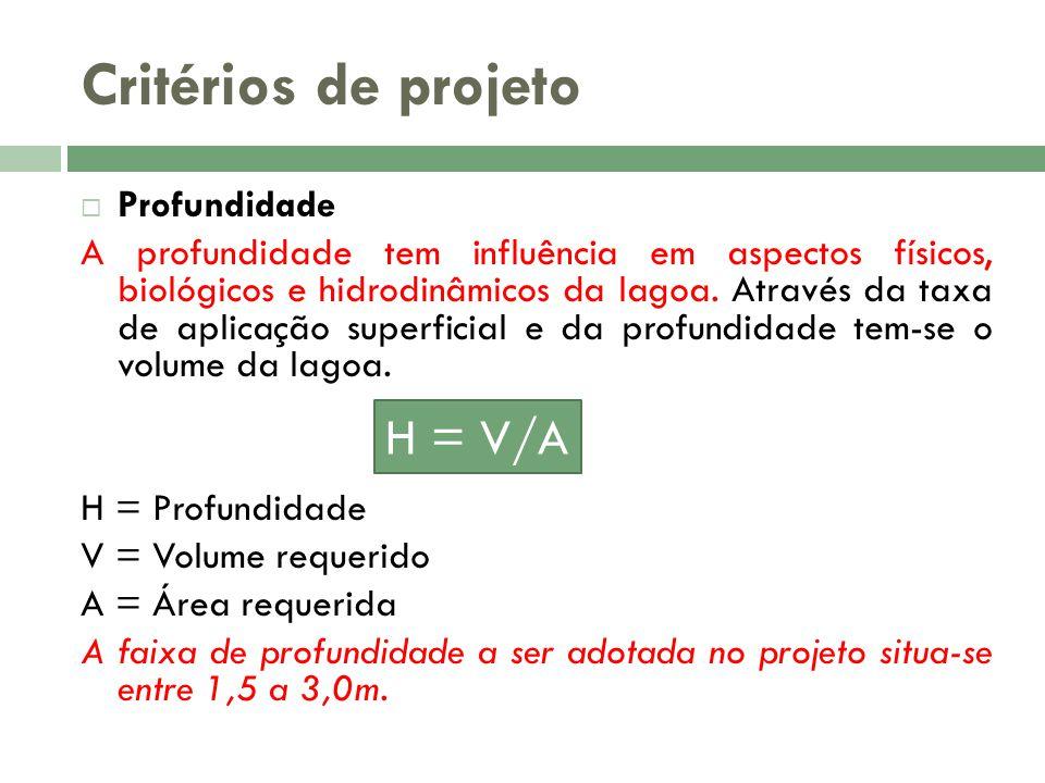 Critérios de projeto H = V/A Profundidade