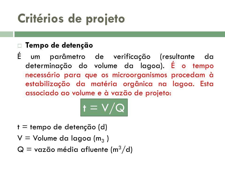 Critérios de projeto t = V/Q Tempo de detenção
