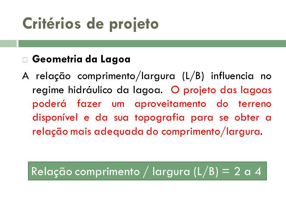 Critérios de projeto Relação comprimento / largura (L/B) = 2 a 4