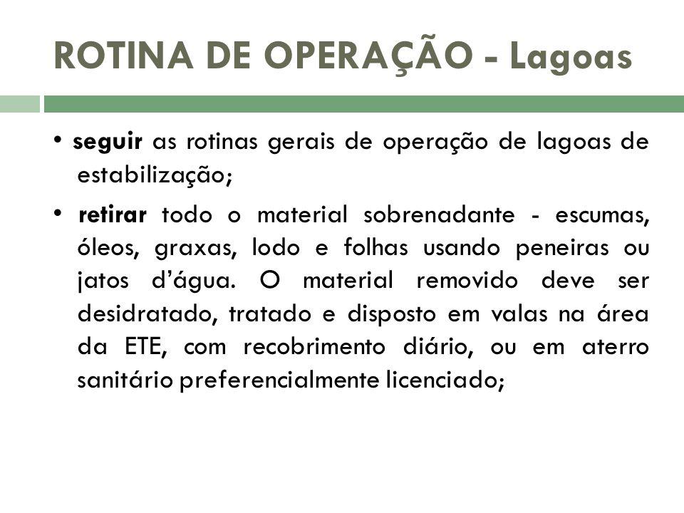 ROTINA DE OPERAÇÃO - Lagoas