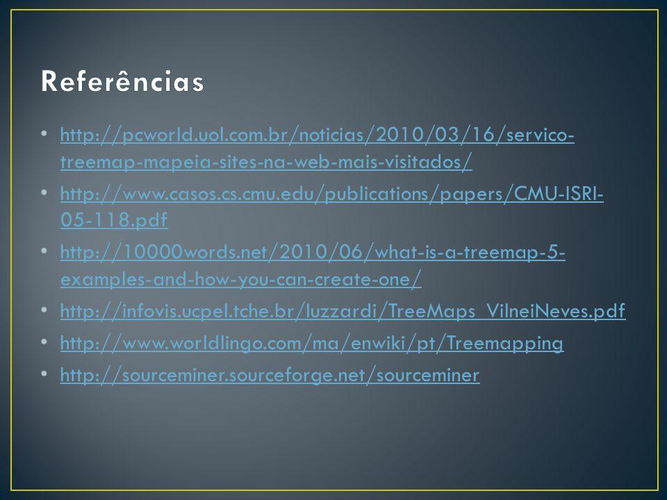 Referências http://pcworld.uol.com.br/noticias/2010/03/16/servico-treemap-mapeia-sites-na-web-mais-visitados/