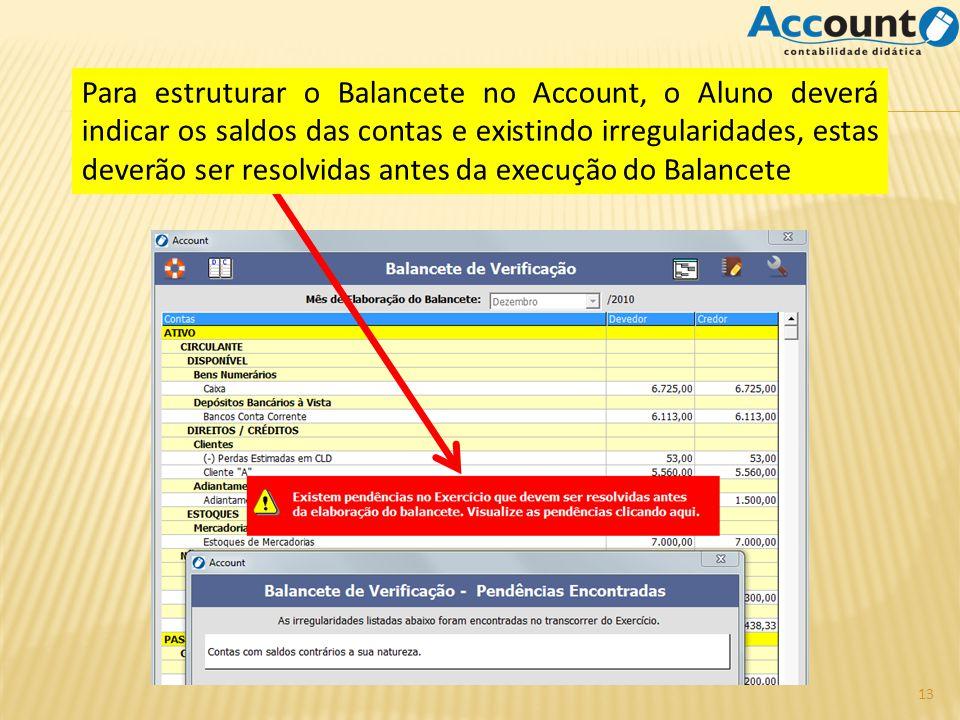 Para estruturar o Balancete no Account, o Aluno deverá indicar os saldos das contas e existindo irregularidades, estas deverão ser resolvidas antes da execução do Balancete