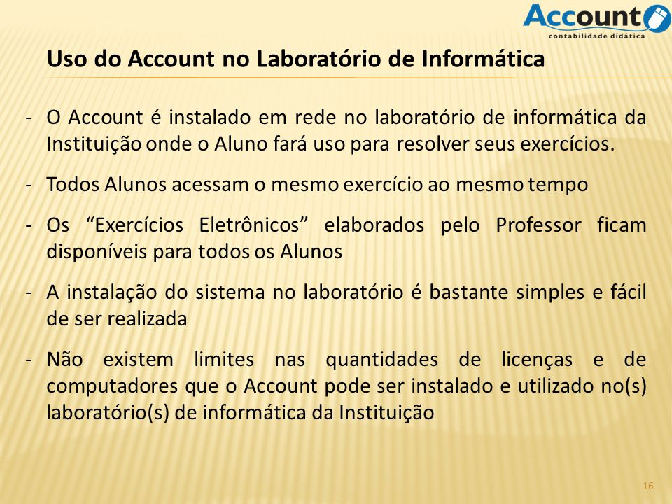 Uso do Account no Laboratório de Informática