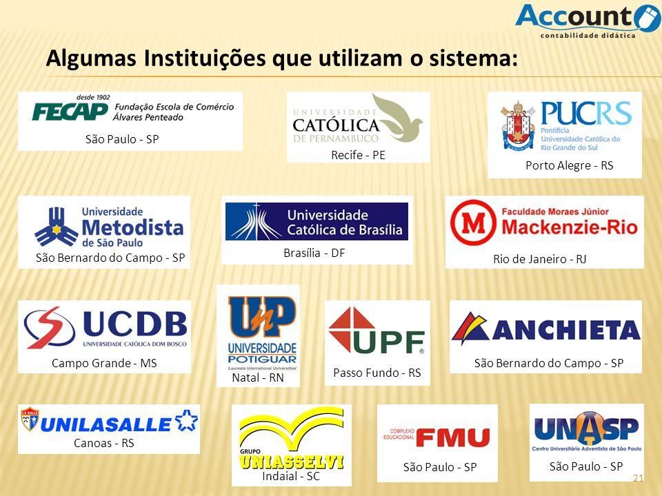 Algumas Instituições que utilizam o sistema: