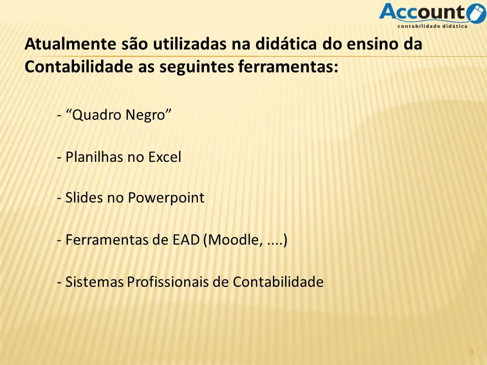 Atualmente são utilizadas na didática do ensino da Contabilidade as seguintes ferramentas:
