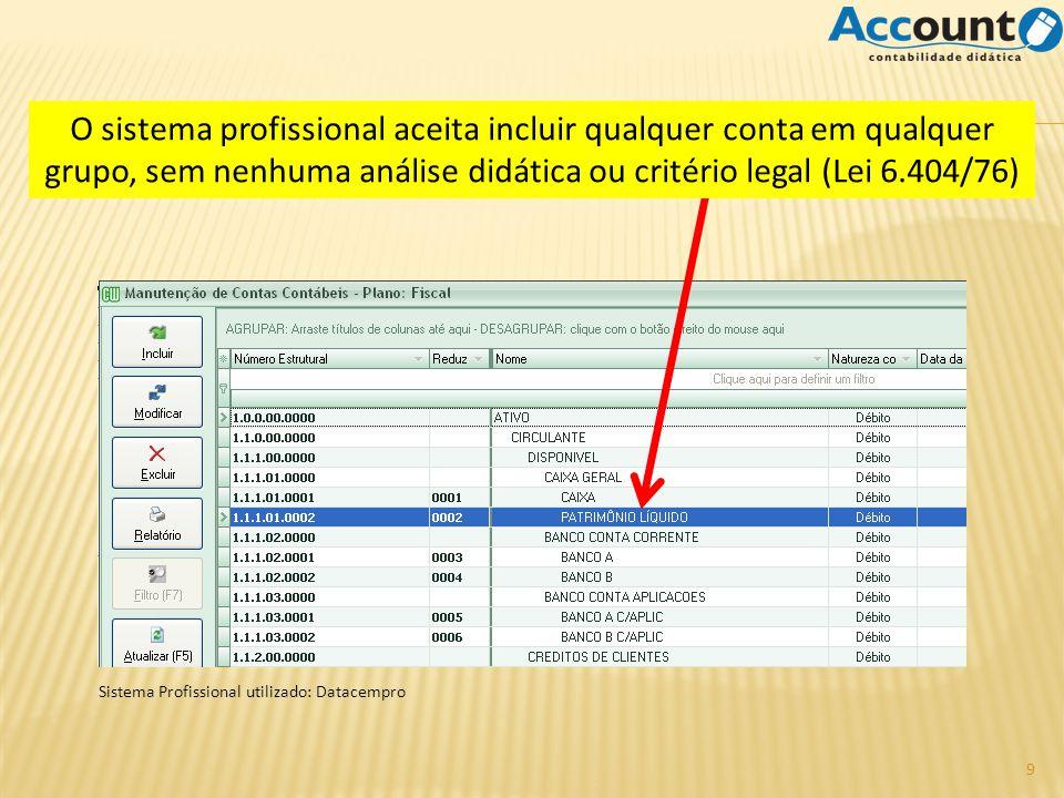 O sistema profissional aceita incluir qualquer conta em qualquer grupo, sem nenhuma análise didática ou critério legal (Lei 6.404/76)
