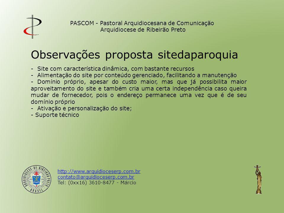 Observações proposta sitedaparoquia