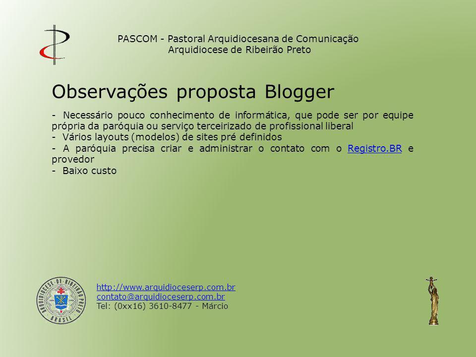 Observações proposta Blogger