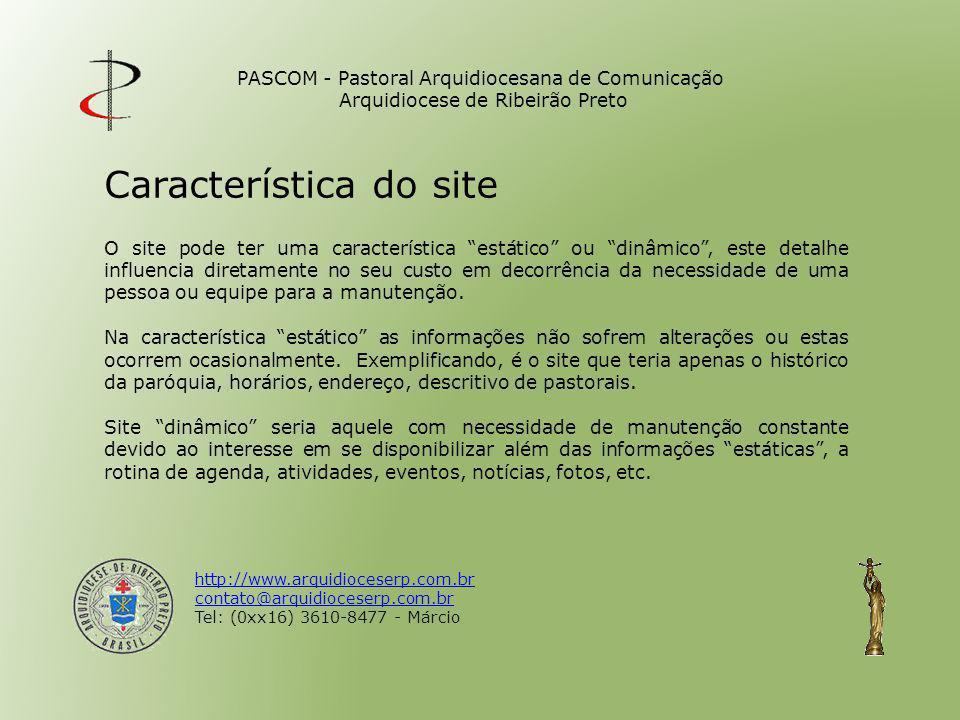 Característica do site